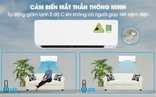 Cảm biến thông minh tự động tăng giảm nhiệt độ phù hợp với nhu cầu sử dụng.